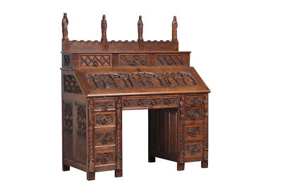 Grandiose Antique French Gothic Desk with Religious Carvings, Oak, 19th Century