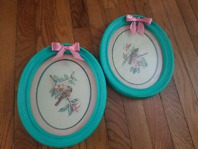 """""""Birds Flowers Vintage Shabby Chic Farm  Cottage Wall Decor Turquoise Green"""