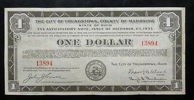 (BJSTAMPS}  Youngstown Ohio 1933 $1 Tax Anticipatory Note
