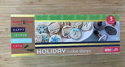 NEW USA Nordic Ware 3 Piece Holiday Cookie Stamps Set -Wreath Gift Tag Snowflake