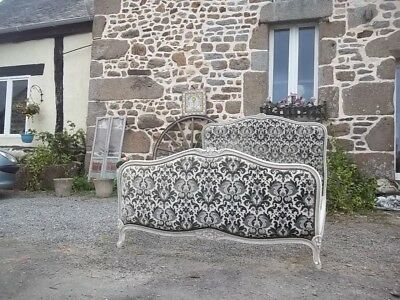 french  vintage neoclassical louis xv style   upholstered double bed