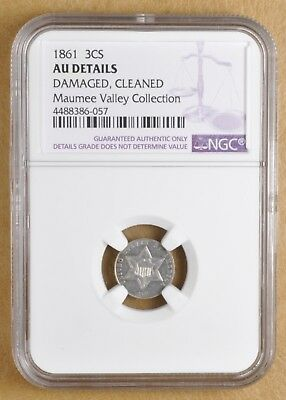 1861 Three Cent Silver NGC AU Details