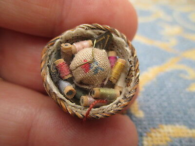 Dollhouse Miniatures ~ Artisan Made Sewing Basket w/ Spools of Thread & Scissors