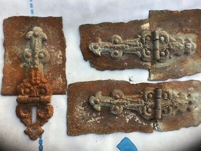 Old Iron Hinges / Brackets Holder Straps Gothic Rustic Style  very old