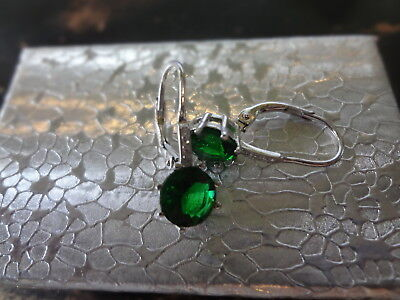 NIB Lab Created Emerald Diamond Clip Back Sterling Silver Earrings