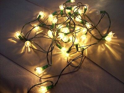 Vintage 35 Holliday Clear Lights w/Clear Petal Flower Reflectors Very Good Cond.