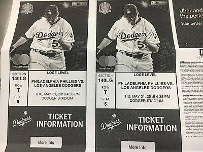 Dodger Tickets For 5/31 Game Vs phillies