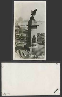 China Old Real Photo Shanghai Bund God of Piece Peace War Memorial, Angel Statue