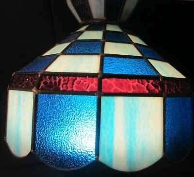Vintage Stained Glass Hanging Lamp Shade Beautiful Blue Red Aqua Light Leaded GC