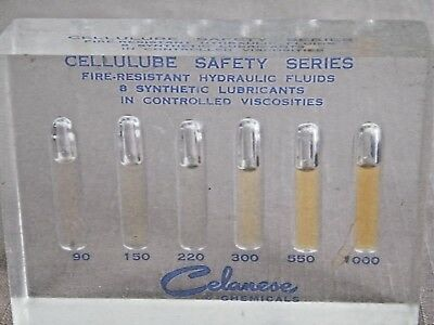 Vintage Celanses Chemical Lucite Lubricant Viscosities Advertising Paperweight