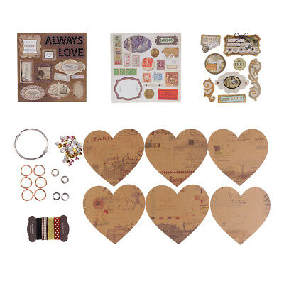 1 Set DIY Heart Shape Family Wedding Photo Album Scrapbook Material Craft