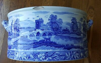 Rare Spode early 19th century Transferware Foot bath, Tower pattern