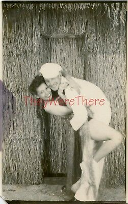 WWII photo- USN Navy Sailor & Sexy HULA GIRL Arcade Photobooth - Hawaii -1