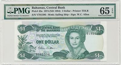 *3RD FINEST* P 43a  Bahamas, Central Bank  $1 Dollar 1974 (ND 1984)  PMG 65 EPQ