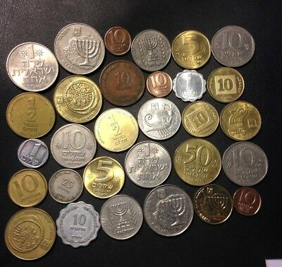 Vintage Israel Coin Lot - 30 Great Coins - 1949-PRESENT - Lot #523