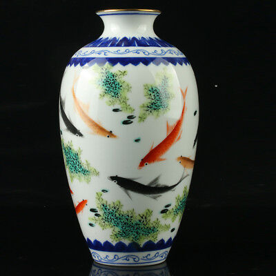 Chinese Porcelain Hand-Painted Fish Vase Mark As The Qianlong Period  R1001