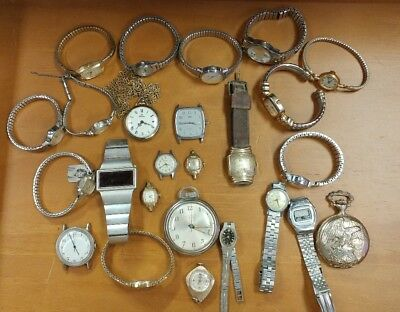 LOT OF VINTAGE ANTIQUE to Current WATCH  Running to REPAIR/SALVAGE Gruen...