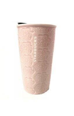 New 2018 Starbucks Spring Floral Pink Travel Mug Ceramic Tumbler 10 Fl Oz