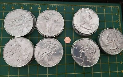 35 Gigantic ASSORTED 3 Inch Coins Novelty Metal STANDING LIBERTY Peace FRANKLIN