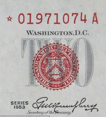 $2 1953 Star red seal US Note *01971074A plain series, two dollar, FREE SHIPPING