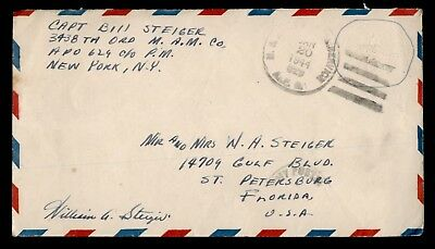 DR WHO 1944 US ARMY APO 629 CANCEL ALBINO AIR MAIL STATIONERY TO USA  d19658