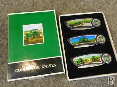 NEVER USED  SET OF 3 Three John Deere Collector Knives IN BOX