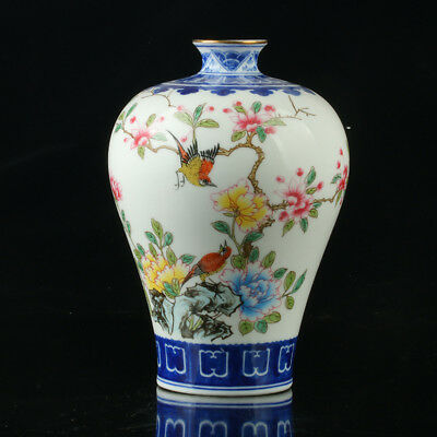 Chinese Porcelain Hand-Painted Flower Vase Mark As The Qianlong Period  R1004