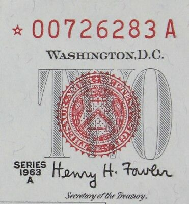 $2 1963A Star CU red seal US Note *00726283A series A, two dollar, FREE SHIPPING
