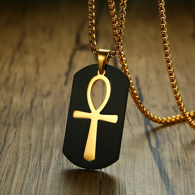 Detachable Ankh Egyptian Cross Necklace Pendant Dog Tag Prayer Stainless Steel