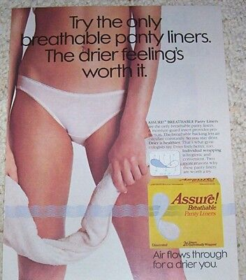 1984 ad page -Assure feminine hygiene products GIRL in panties PRINT ADVERTISING
