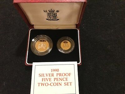 Great Britain Royal mint 1990 SILVER Proof Five Pence 2  COIN SET  w/ Box & COA
