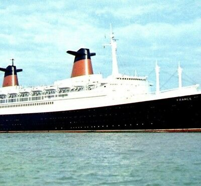 SS France the French Line Cruise Ship Passenger Vintage Postcard