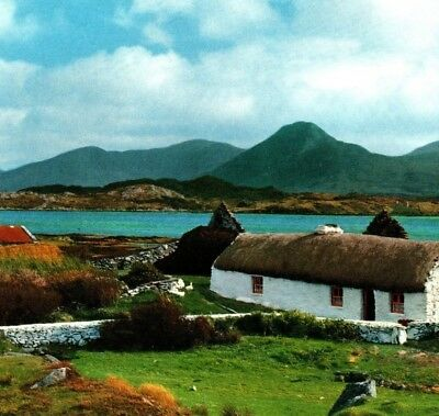 Thatched cottage Renvyle Connemara Co Galway Ireland John Hinde Vintage Postcard