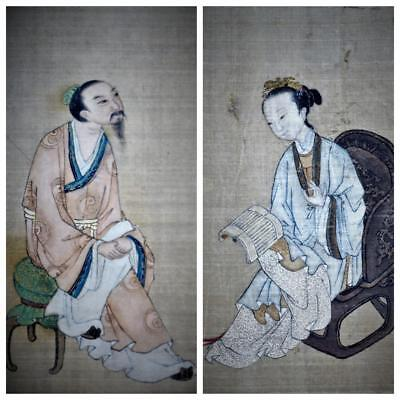 Pair Antique Chinese Painting On Silk,Poetry And Signed.Framed.