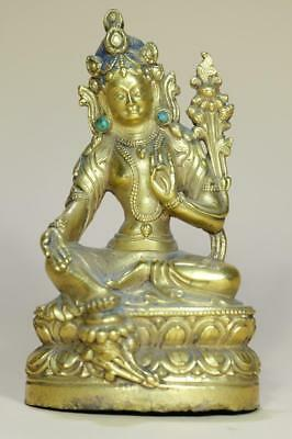 A Chinese Gilt Bronze Buddha With Turquoise Gems Inlay.