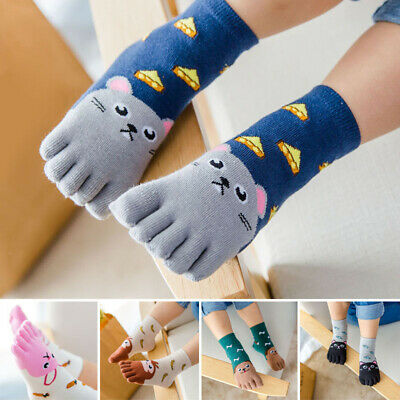 New Cute Size Baby Cartoon Socks Toe Soft Girls Kids Five Fingers Animal Boys