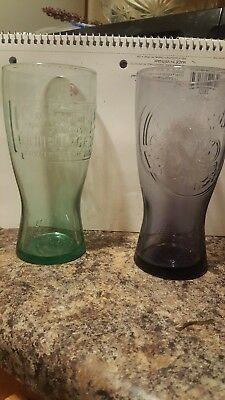 1948 green tinted glass mcdonalds cup and 1955 purple tinted glass Mc'ds cup