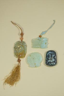 Four Vintage Chinese Jade Stone Pendant and Others.