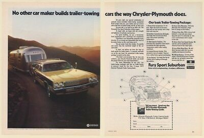 1973 Plymouth Fury Sport Suburban Station Wagon Towing Airstream Trailer 2-Pg Ad