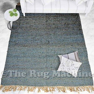 OXFORD GREY NATURAL JUTE KNOTTED FLATWEAVE MODERN FLOOR RUG 150x220cm **NEW**