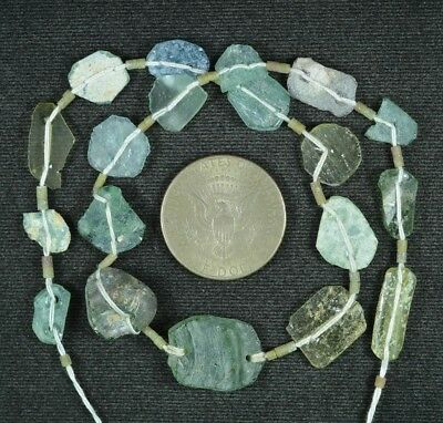 Ancient Roman Glass Beads 1 Medium Strand Aqua And Green 100 -200 Bc 834