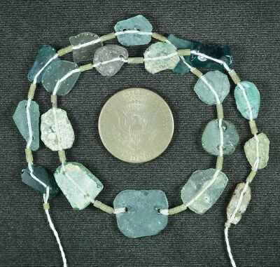 Ancient Roman Glass Beads 1 Medium Strand Aqua And Green 100 -200 Bc 835