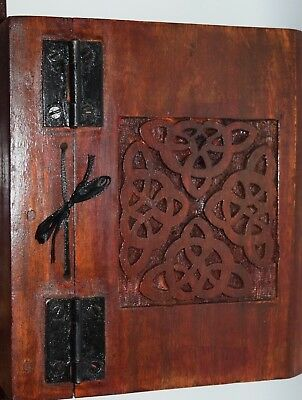 Wooden Carved Spell book of shadows Journal Wiccan diary Celtic Knot