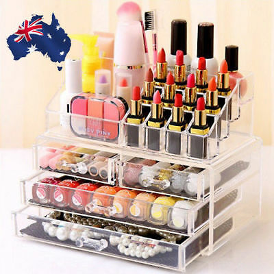 OZ Holder Cosmetic Makeup 4 Drawer Organizer Storage Jewellery Box Clear Acrylic