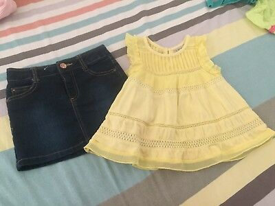 Girls bundle Size 3 NEXT UK top + denin skirt in excellent used condition
