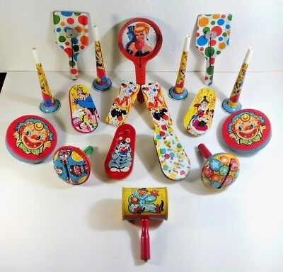 Lot of 18 Vintage Noise Makers Tin Litho Circus Party Toy Red Wood Handles