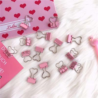 6pcs Pink Metal Binder Clip Notes Paper Books Office Stationery Documents Clip