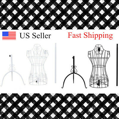 White Black Metal Adjustable Height Wire Frame Dress Form Display Stand USA