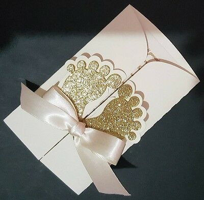 10 Baby Shower Invitations Cards Personalized for Boy or Girl Glitter Feet