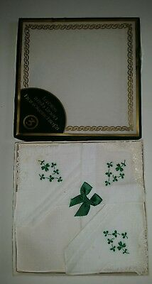 Box of 3 Vintage 100% Linen Ladies Handkerchiefs Hankies with Shamrocks